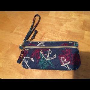 Anchor flower navy blue wallet wristlet